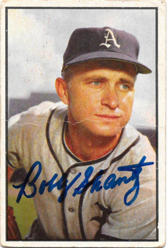 1953 Bowman card of Bobby Shantz, autographed